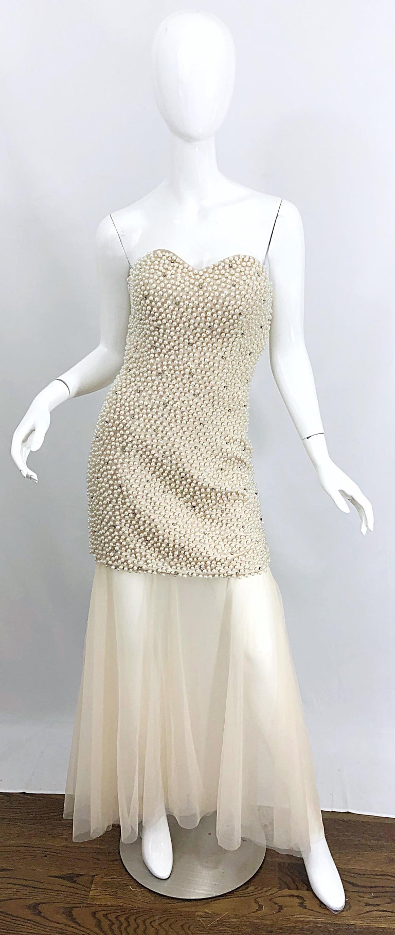 Phenomenal 1990s Couture Pearl + Rhinestone Encrusted Strapless Beige 90s Gown For Sale 11