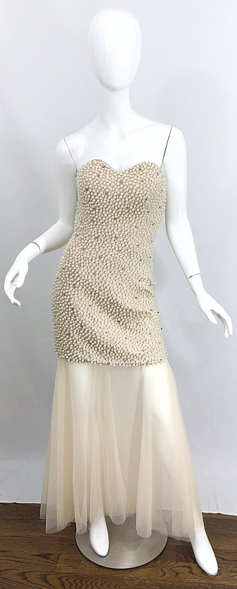 Phenomenal 1990s Couture Pearl + Rhinestone Encrusted Strapless Beige 90s Gown In Excellent Condition For Sale In Chicago, IL