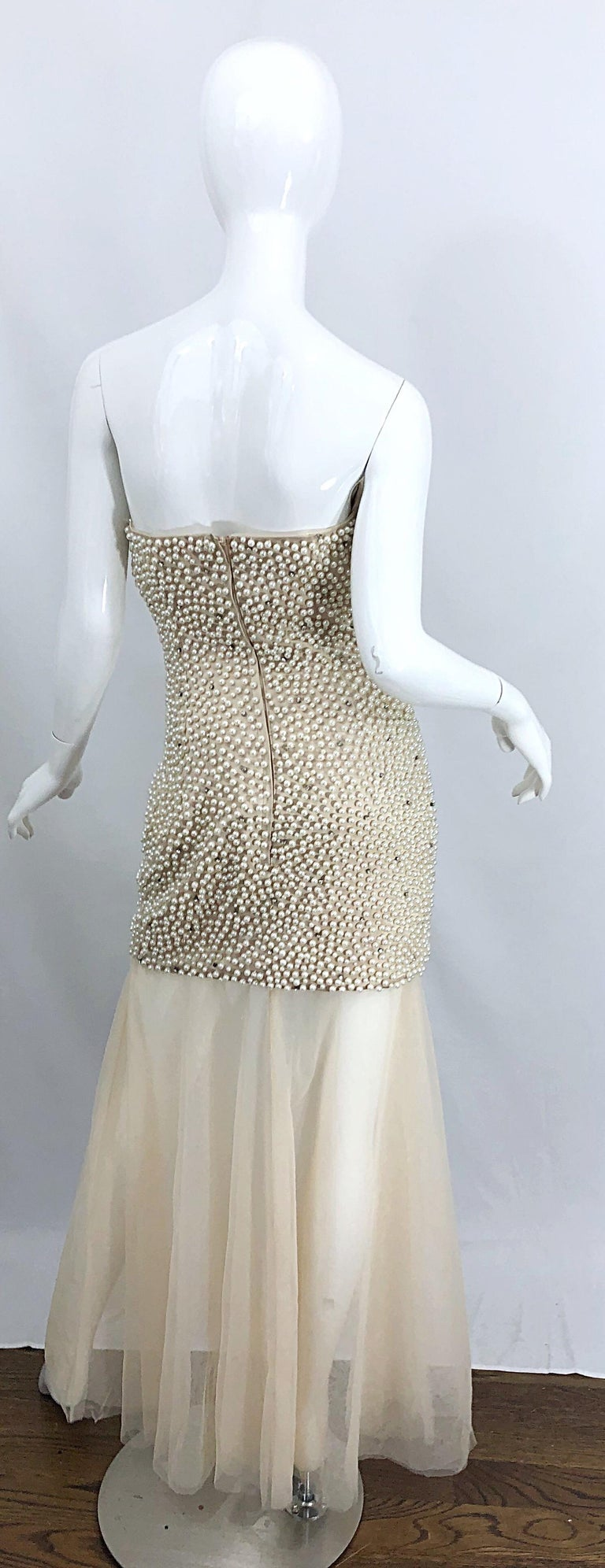 Women's Phenomenal 1990s Couture Pearl + Rhinestone Encrusted Strapless Beige 90s Gown For Sale