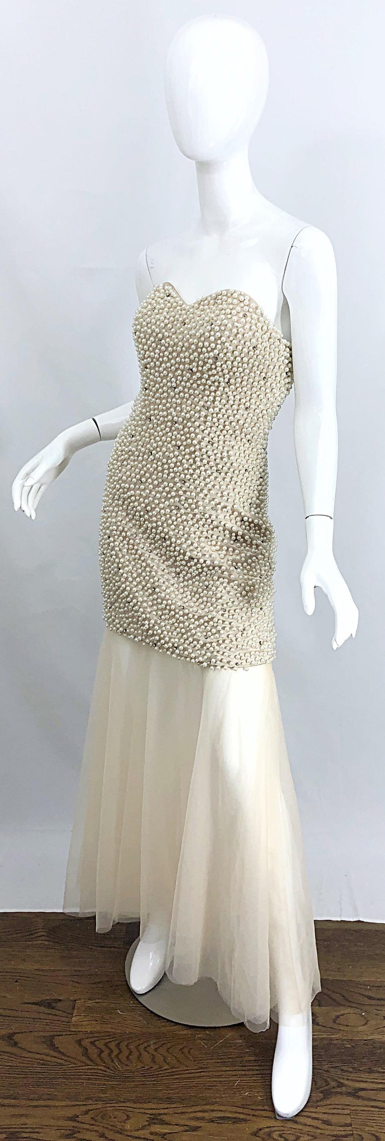 Phenomenal 1990s Couture Pearl + Rhinestone Encrusted Strapless Beige 90s Gown For Sale 1