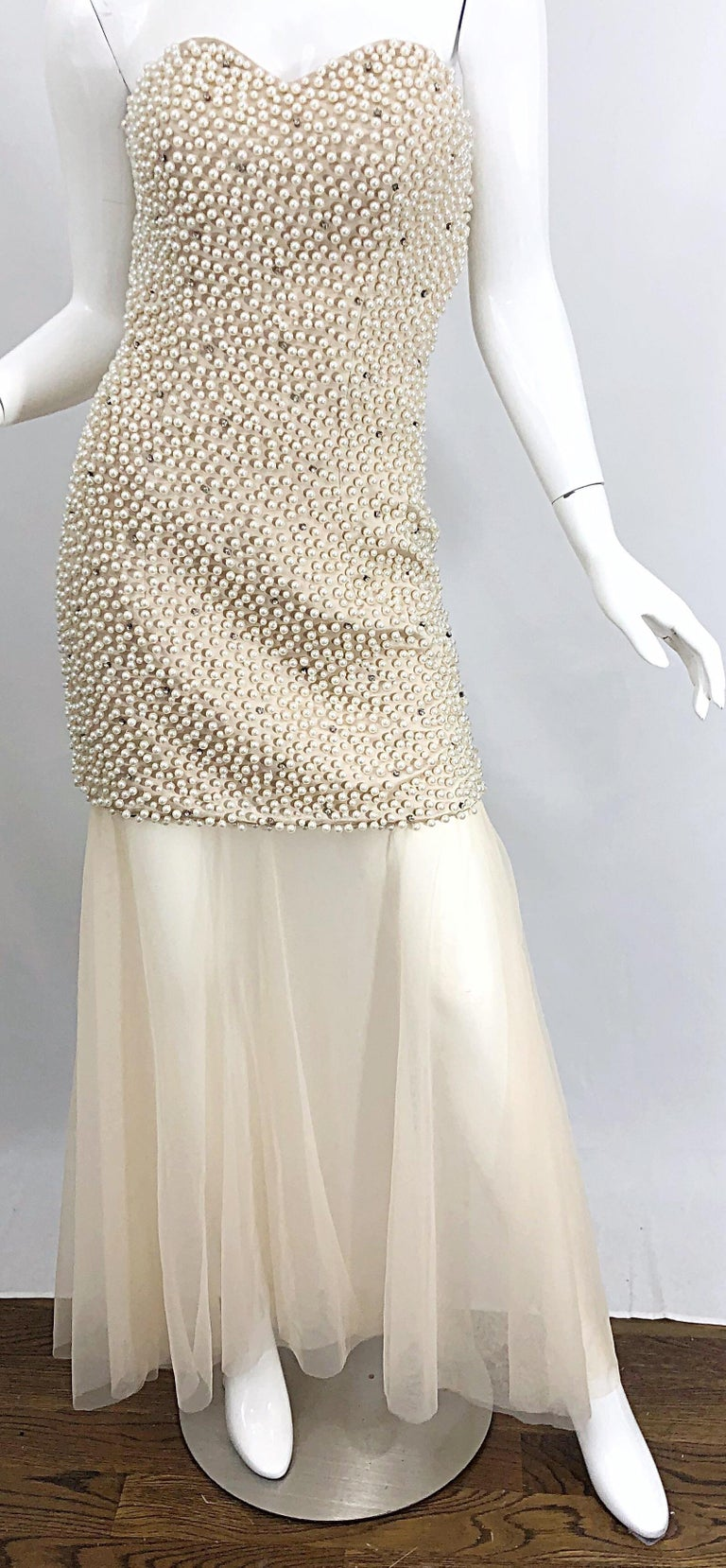 Phenomenal 1990s Couture Pearl + Rhinestone Encrusted Strapless Beige 90s Gown For Sale 2
