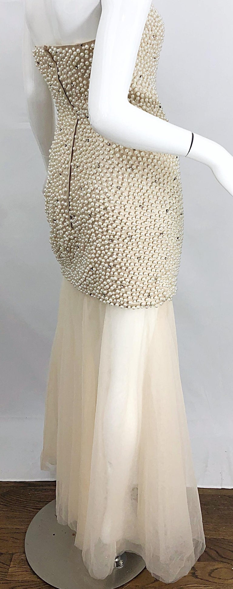 Phenomenal 1990s Couture Pearl + Rhinestone Encrusted Strapless Beige 90s Gown For Sale 3