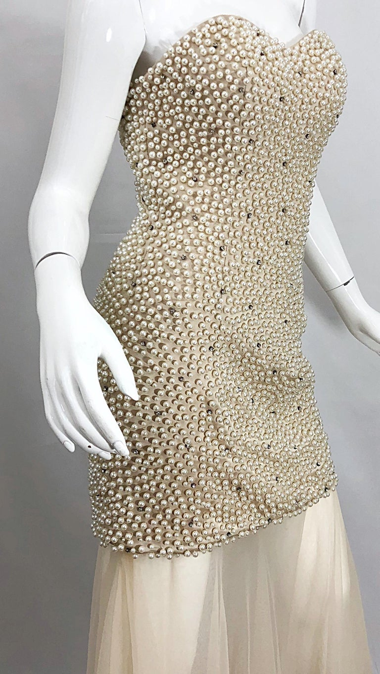 Phenomenal 1990s Couture Pearl + Rhinestone Encrusted Strapless Beige 90s Gown For Sale 5