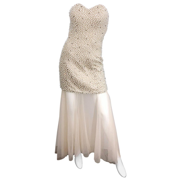 Phenomenal 1990s Couture Pearl + Rhinestone Encrusted Strapless Beige 90s Gown For Sale