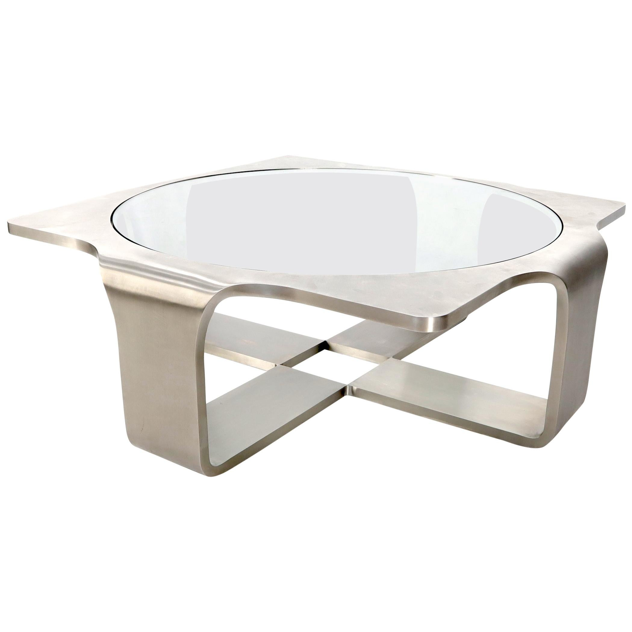 """Phenomenal 1"""" Thick Bent Stainless Steel Square Coffee Table Glass Top"""