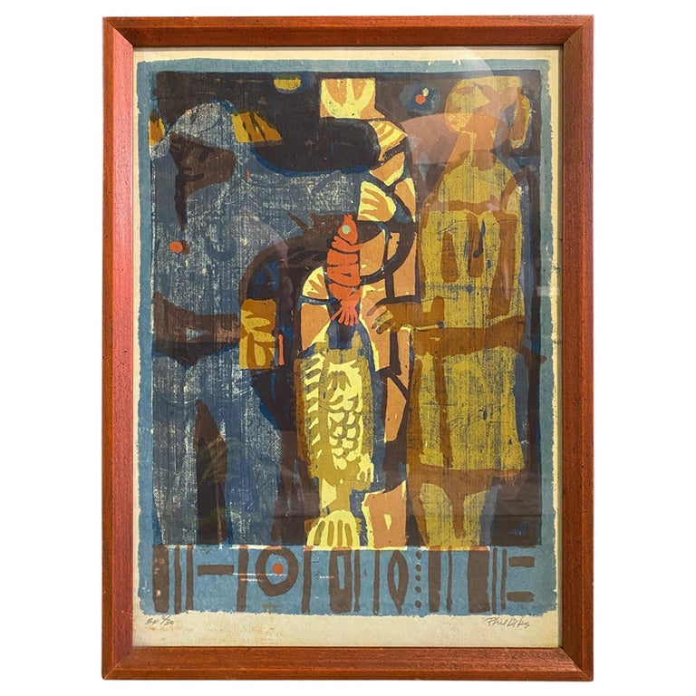 Phil Dike Signed Limited Edition Mid-Century Modern Colorful Lithograph Print