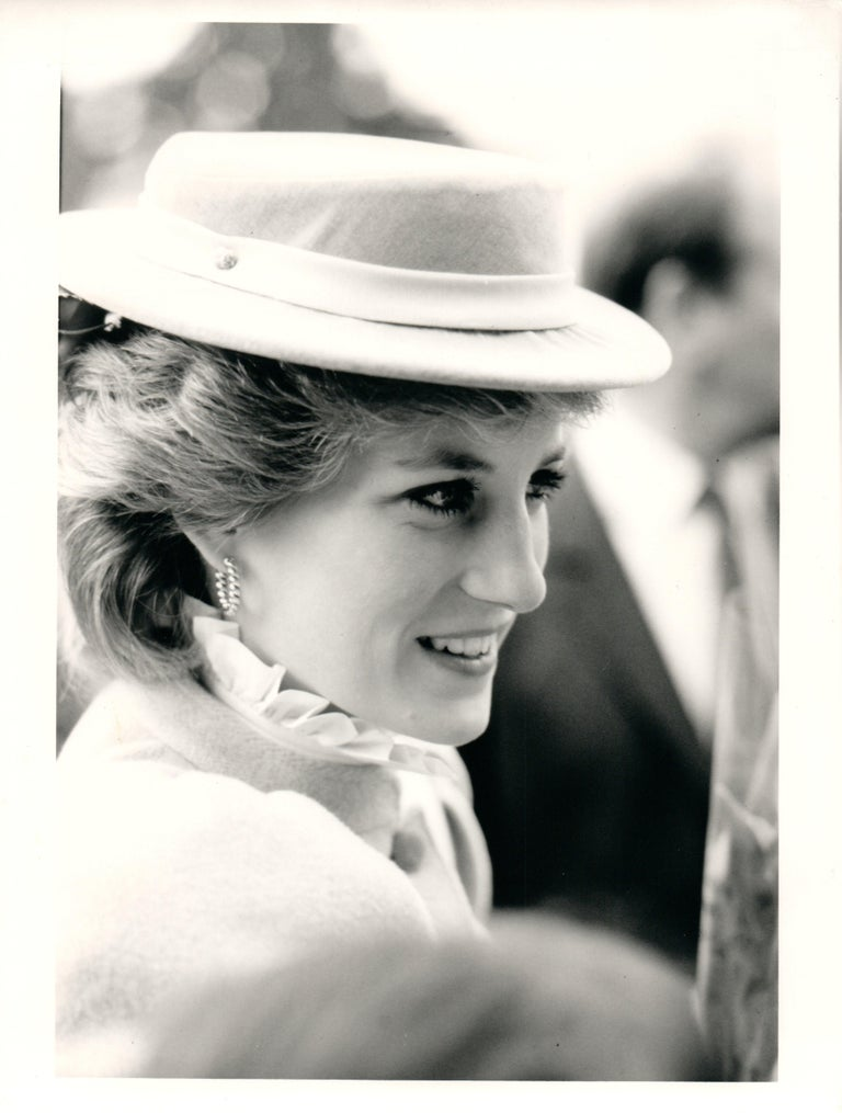 Phil Loftus Portrait Photograph - Candid Princess Diana in Hat Vintage Original Photograph
