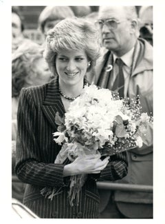 Princess Diana with Flowers Vintage Original Photograph