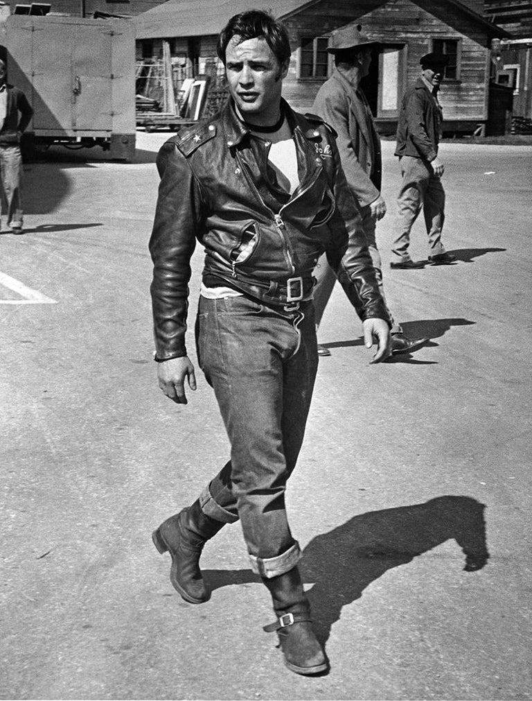 """Phil Stern Black and White Photograph - Marlon Brando during the filming of """"The Wild One"""""""