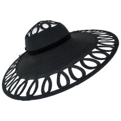 Phil Strann Black Wide Brim Looped Straw Hat, C.1950