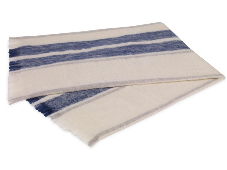 Modern Phila Stripe Mohair Throw in Ivory and Navy Mohair by CuratedKravet For Sale