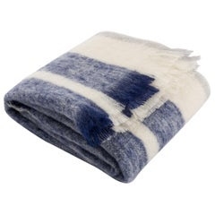 Phila Stripe Mohair Throw in Ivory and Navy Mohair by CuratedKravet
