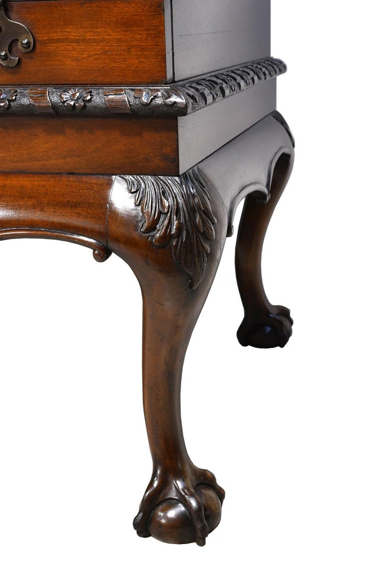 19th Century Philadelphia Centennial Mahogany Chest on Stand with Ball and Claw Feet For Sale