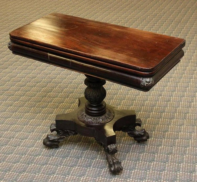 Very beautiful American Federal games table. Flip-top with concertina movement. Attributed to the workshop of Philadelphia cabinet maker, Anthony Quervelle, circa 1825. Retains original / old finish and patina.