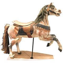Philadelphia Toboggan Co Polychrome Carved Wooden Carousel Horse