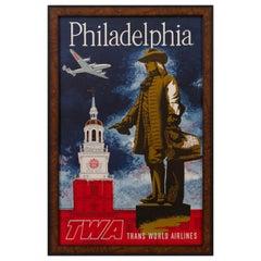 """Philadelphia"" Vintage TWA Poster by Robert Swanson, circa 1950s"
