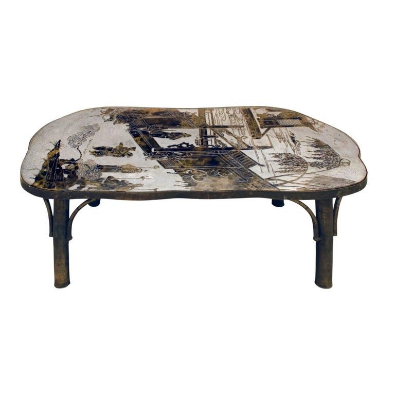 """Philip & Kelvin Laverne """"Chan 140"""" Coffee Table 1960s 'Signed on Top'"""