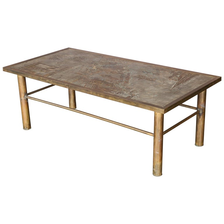 Philip And Kelvin Laverne Bronze And Pewter Coffee Table
