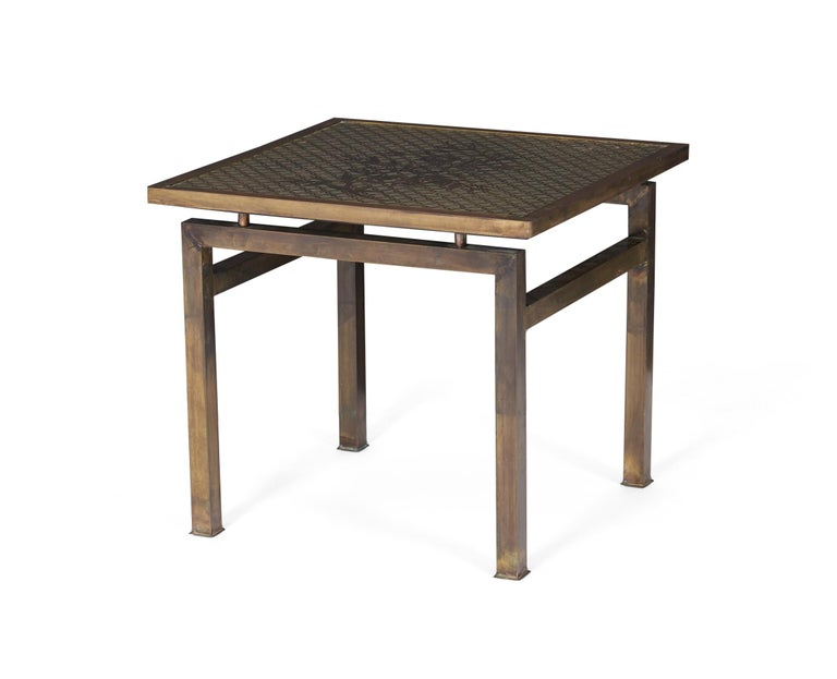 Bronze side table by Philip and Kelvin LaVerne. Beautiful acid etching. Titled Kuan Su.
