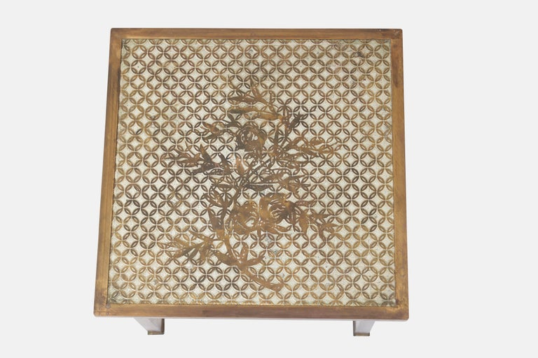 Mid-Century Modern Philip and Kelvin LaVerne Bronze Kuan Su Side Table