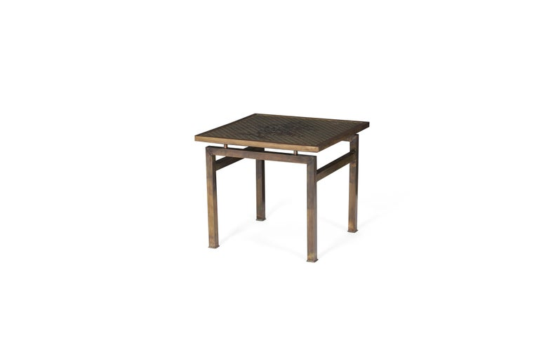 Philip and Kelvin LaVerne Bronze Kuan Su Side Table In Good Condition In Chicago, IL