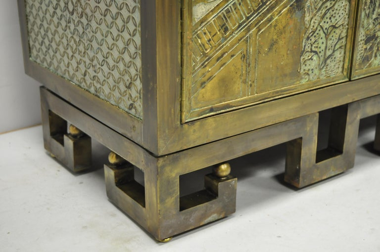 Philip and Kelvin LaVerne Chan Li Cabinet in Patinated Bronze and Pewter For Sale 5
