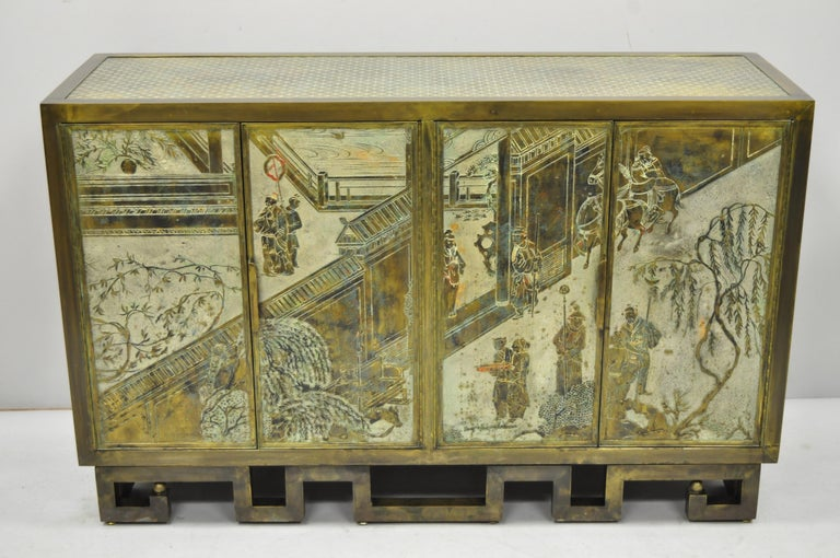 Philip and Kelvin LaVerne Chan Li Cabinet in Patinated Bronze and Pewter For Sale 7