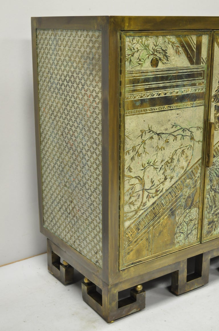 American Philip and Kelvin LaVerne Chan Li Cabinet in Patinated Bronze and Pewter For Sale