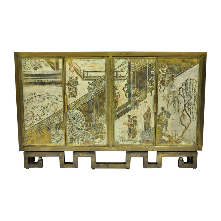Philip and Kelvin LaVerne Chan Li Cabinet in Patinated Bronze and Pewter For Sale