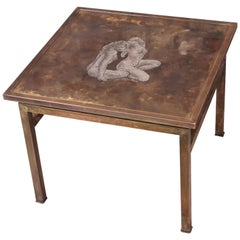 "Philip and Kelvin LaVerne Etched Bronze ""Ecstasy"" Table with Nude Women Motif"