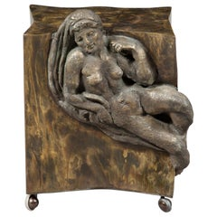 Philip and Kelvin LaVerne Figural Cube End Table Signed One of a Kind