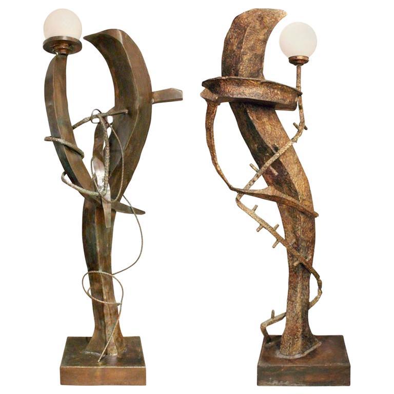 Philip and Kelvin LaVerne Illuminated Bronze Sculpture Floor Lamps, circa 1970