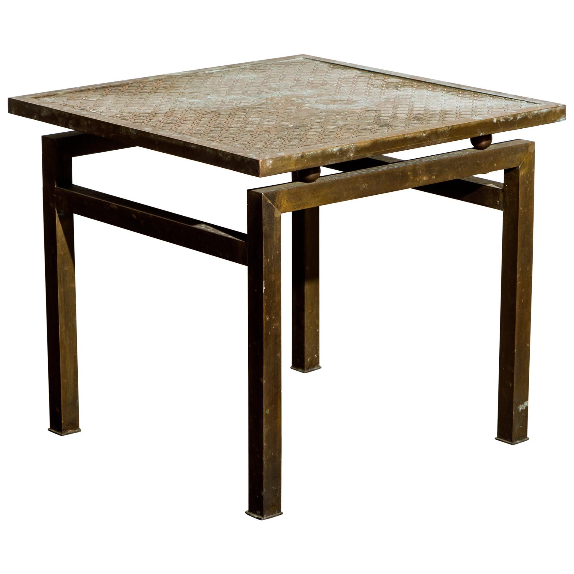 Philip and Kelvin LaVerne 'Kuan Su' Bronze and Pewter Side Table, Signed, 1960s