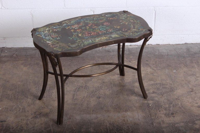 """A bronze """"Madame Pompadour"""" side table designed by Philip and Kelvin LaVerne."""