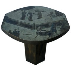 Philip and Kelvin LaVerne Octagonal Etched Enameled Bronze Tao Side/ End Table