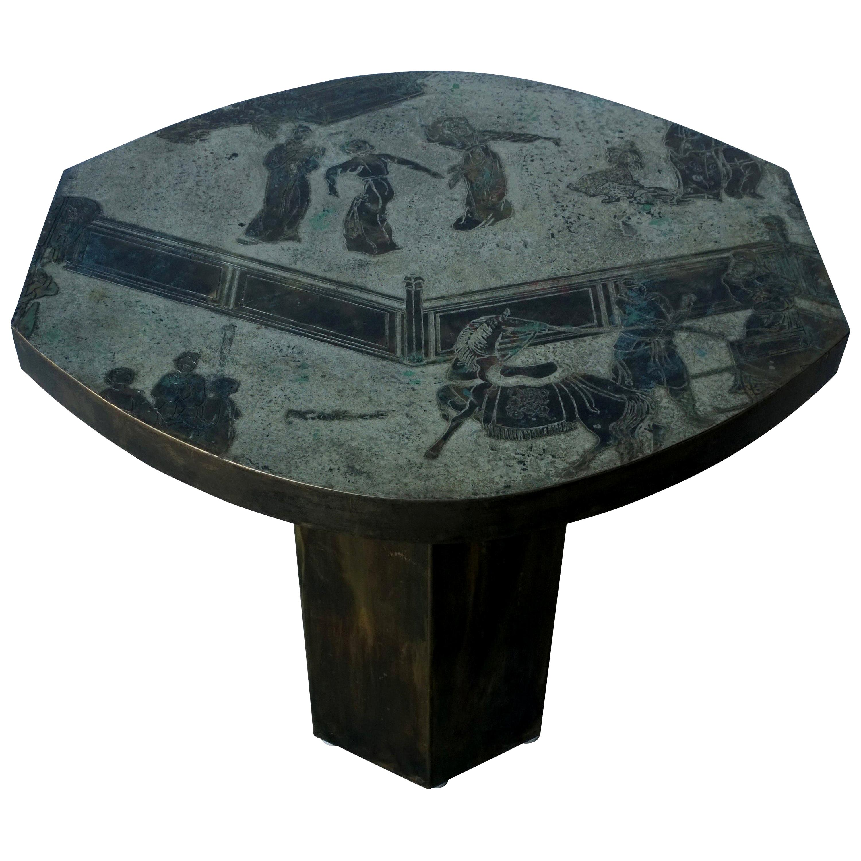 Philip and Kelvin LaVerne Octagonal Etched Enameled Bronze Tao Side/ End Table