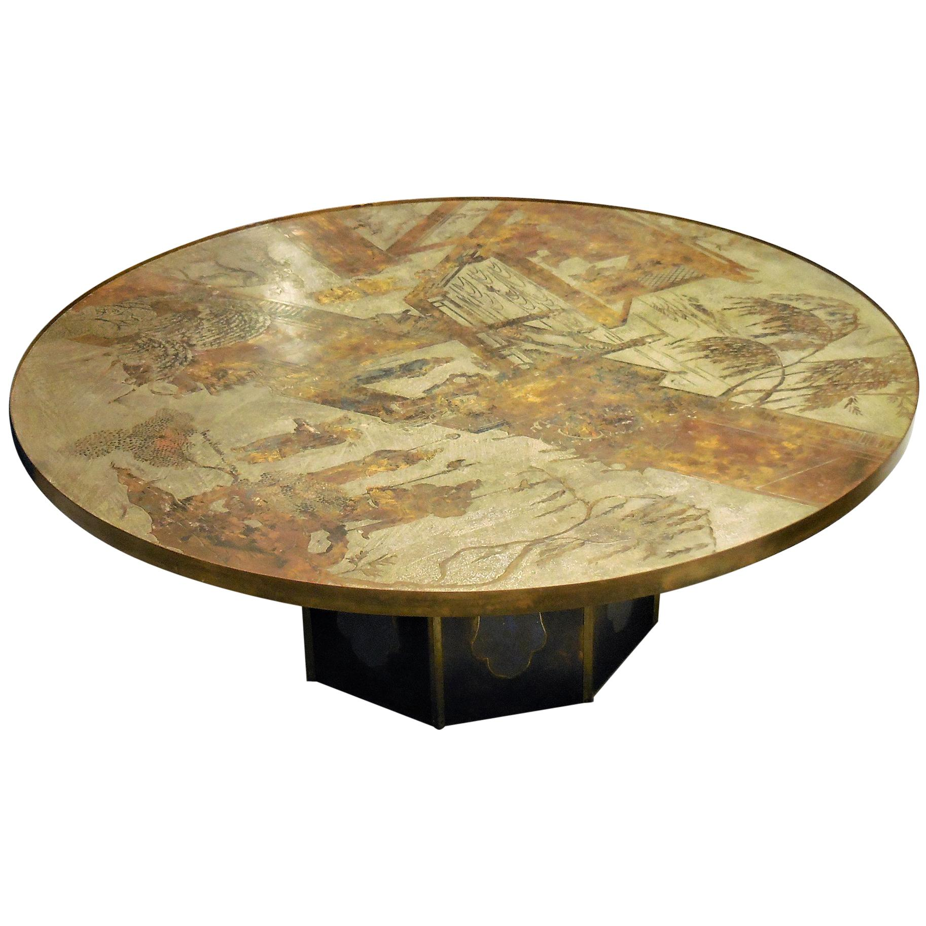 Charmant Philip And Kelvin LaVerne Round Bronze Coffee Table For Sale