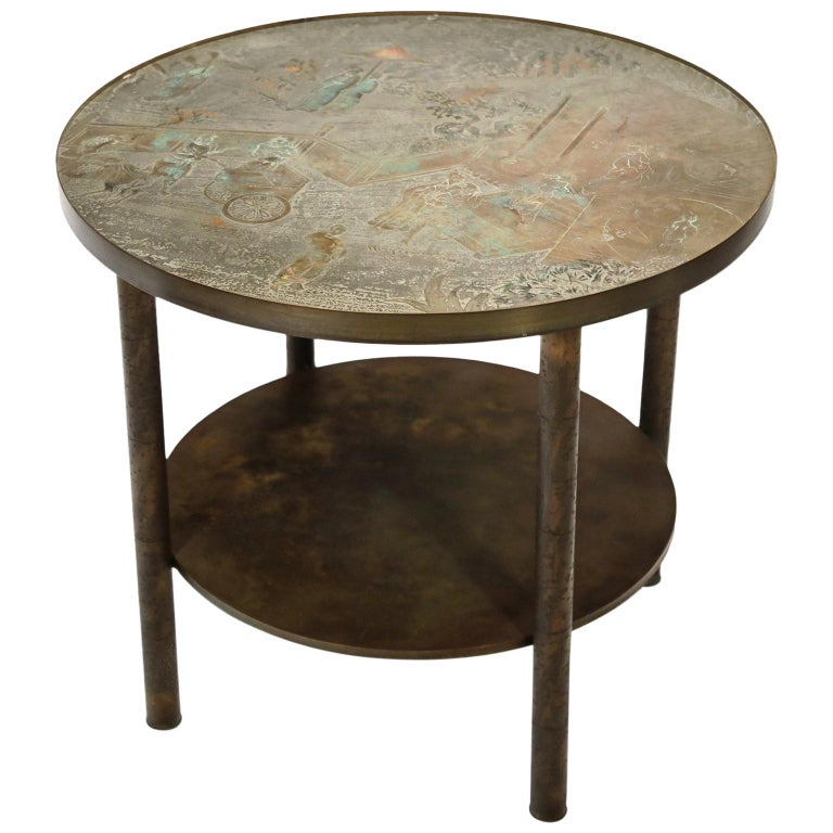 """Philip and Kelvin LaVerne Special Ordered """"Tao"""" Shelf Table, Signed and Labelled For Sale"""