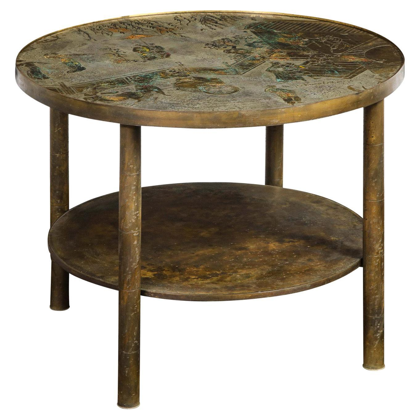 """Philip and Kelvin LaVerne """"Tao Shelf"""" Side Table 1960s 'Signed'"""