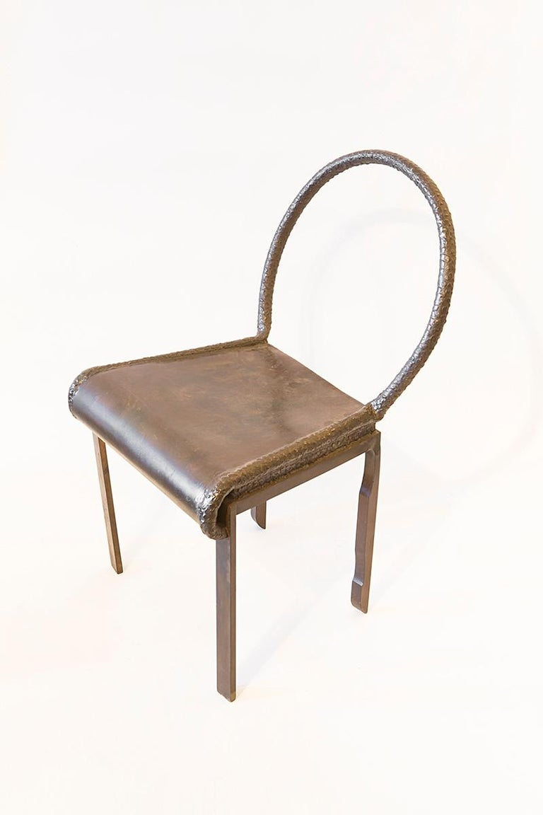 """Philip and Kelvin LaVerne  Chair Bronze, circa 1970s Measures: 33"""" H x 19"""" W x 16""""D (84cm x 48cm x 41cm)  Philip and Kelvin LaVerne are an American collaborative-design father and son duo. They are best known for melding motifs from antiquity"""