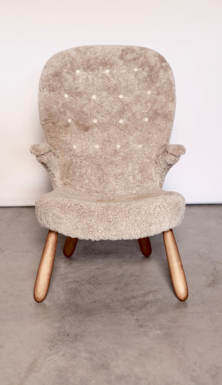 Scandinavian Modern Philip Arctander, a Rare High Back 'Clam' Lounge Chair, Sweden, 1940s For Sale