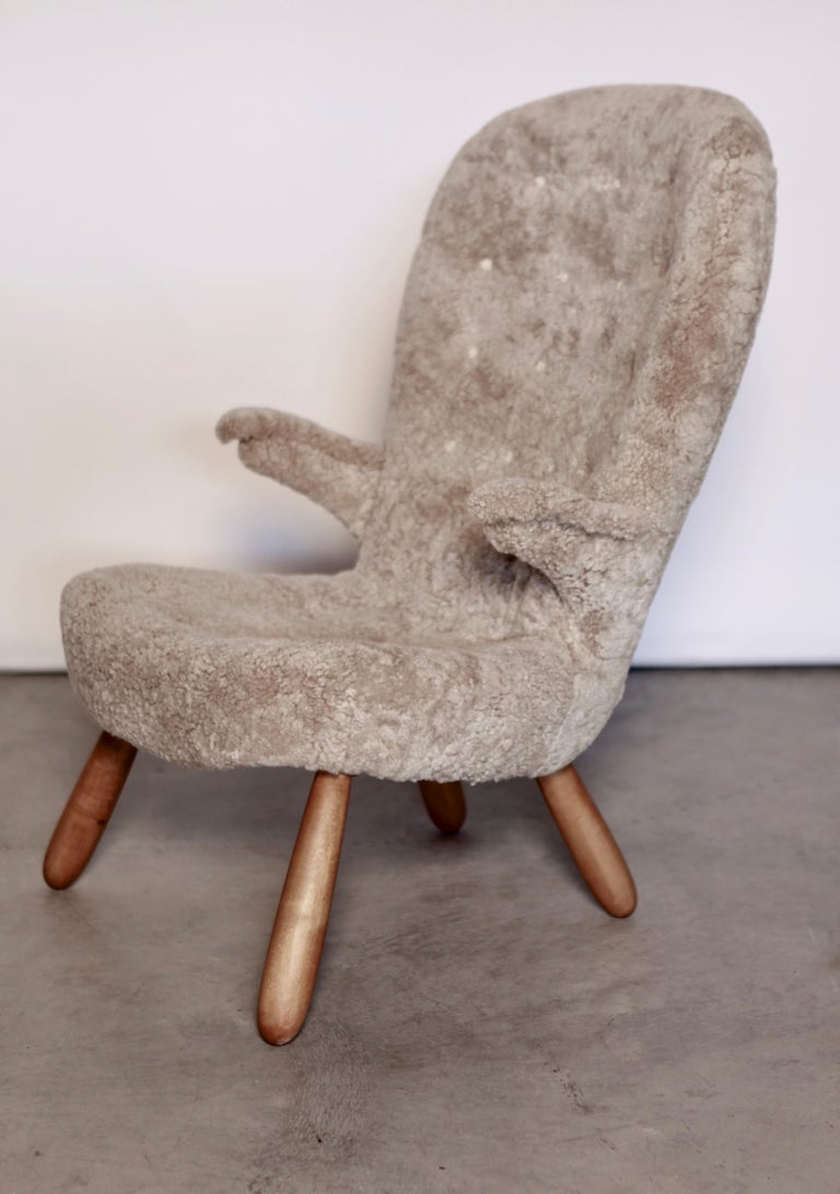 Swedish Philip Arctander, a Rare High Back 'Clam' Lounge Chair, Sweden, 1940s For Sale