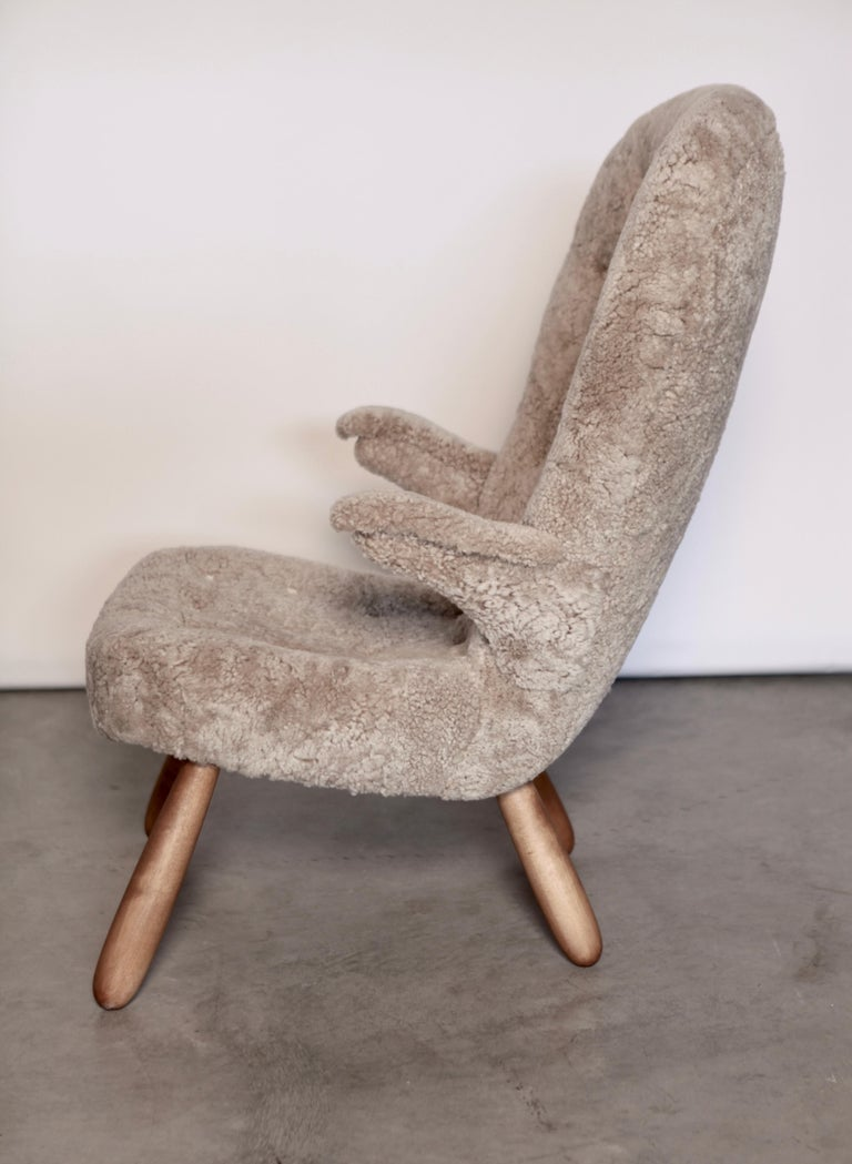 Stained Philip Arctander, a Rare High Back 'Clam' Lounge Chair, Sweden, 1940s For Sale