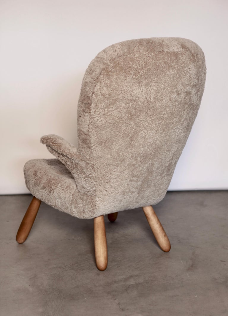 Mid-20th Century Philip Arctander, a Rare High Back 'Clam' Lounge Chair, Sweden, 1940s For Sale