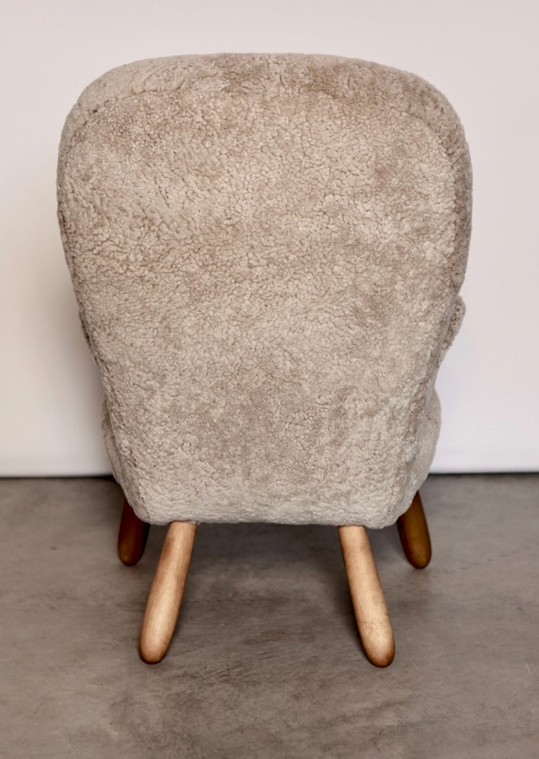 Lambskin Philip Arctander, a Rare High Back 'Clam' Lounge Chair, Sweden, 1940s For Sale