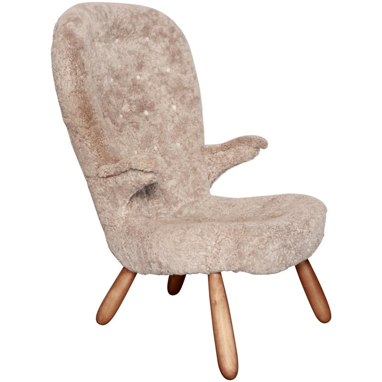 Philip Arctander, a Rare High Back 'Clam' Lounge Chair, Sweden, 1940s For Sale