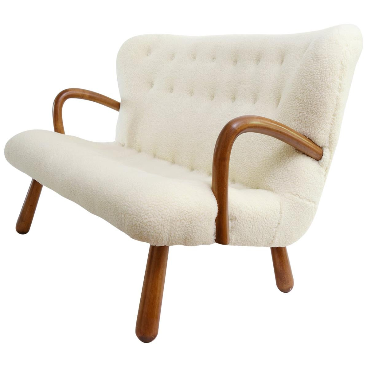 Philip Arctander 'Attributed' Scandinavian Modern Settee in Faux Sheepskin