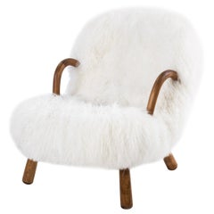 "Philip Arctander ""Clam Chair"" 1944, Denmark, Long sheepskin"