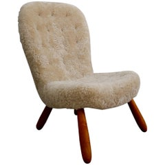 Philip Arctander Clam Chair Sheepskin, 1950s
