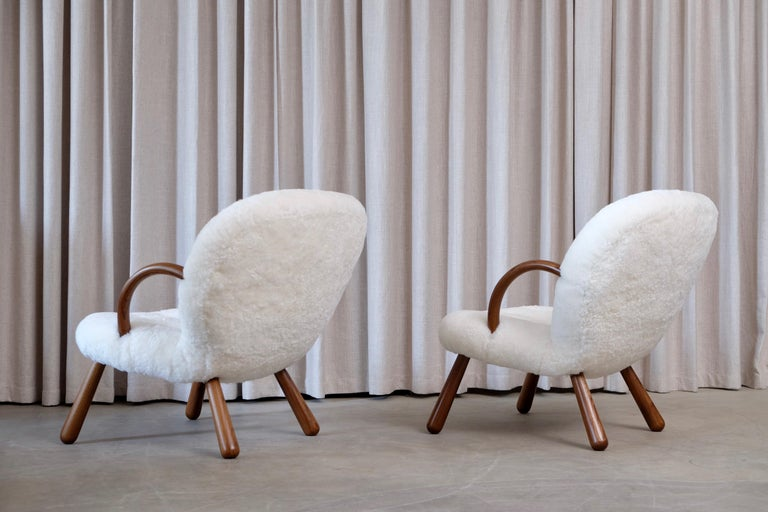 Philip Arctander Clam Chairs by Nordisk Stål & Møbel Central in Denmark, 1940s For Sale 3
